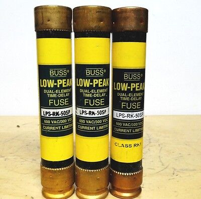 BUSSMANN * ( LPS-RK-50SP ) * Low Peak Time Delay Fuse * (LOT OF 3) *NEW*