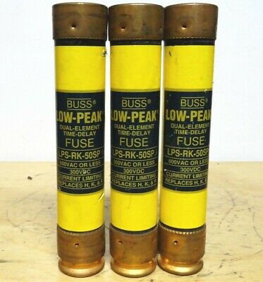 BUSSMANN * LPS-RK-50SP * Low Peak Time Delay Fuse * LOT OF 3 *NEW*