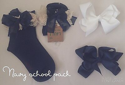 Girls School Pack 2 Pairs Frilly Ankle Socks 2 Ribbon Bow Clip Large Black Navy