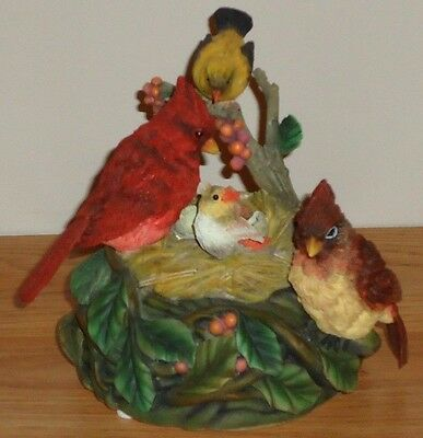 "CARDINALS Family w/Baby Bird 5"" resin MUSICAL Figurine THE VISITOR The Spring"