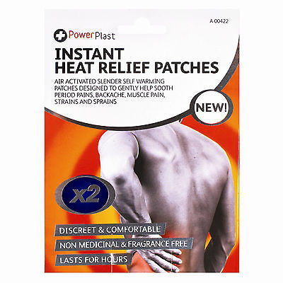 2 x INSTANT HEAT RELIEF PATCHES MUSCLE PAIN BACKACHE WARMING PATCH LONG LASTING