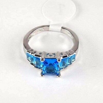 "R#10159 ""Simulated"" Sea Blue Topaz gemstone ladies silver ring Size 6"