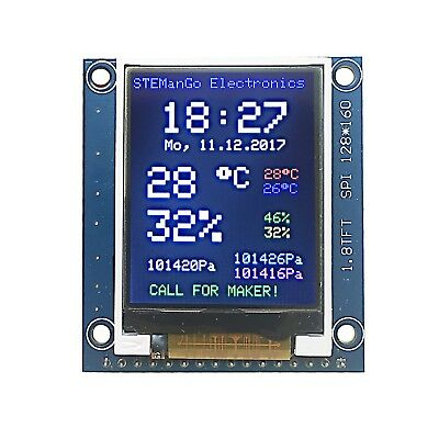 1.8 inch TFT Color Display Module Breakout SPI ST7735S for Arduino UNO/MEGA/Nano