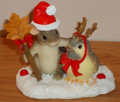Charming Tails MY LITTLE CHICK-A-DEER Figurine Mouse w/Christmas Chickadee w/box