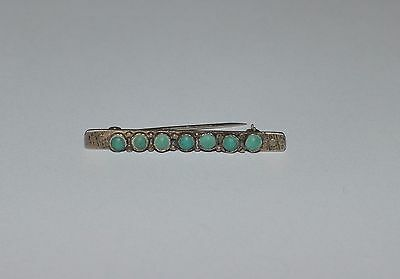 Native American Sterling Silver And Turquoise Elongated Pin Brooch