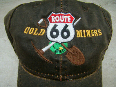 """Route 66 Gold Miners"" Weathered Cotton Hat"