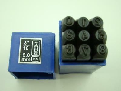 "3/16""  5MM  9 Number Punch Stamp Set  Metal-Steel-Hand-Serial-Trailer-Bars"