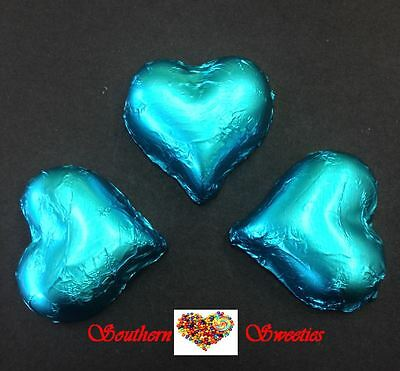 1Kg Tiffany Aqua Foiled Hearts Milk Chocolate Choc Tiffany Aqua Lollies Choc