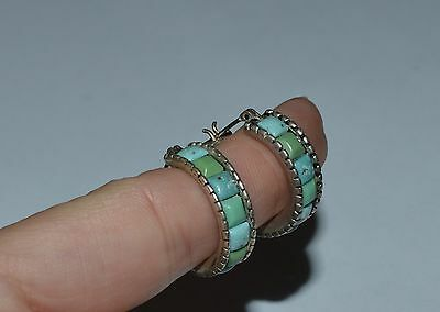 Designer Signed Sterling Silver And Turquoise Earrings