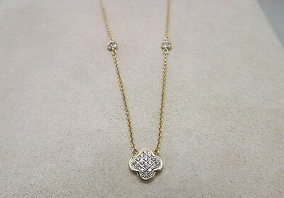 New Sterling Silver 925 Gold Plate Flower Necklace W/ Cubic Zirconia 18Inch 2.5G
