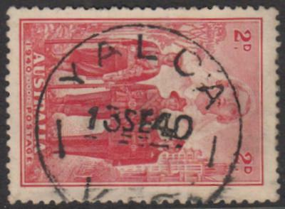 Victoria YALCA / VIC 1940 postmark on 2d Armed Forces