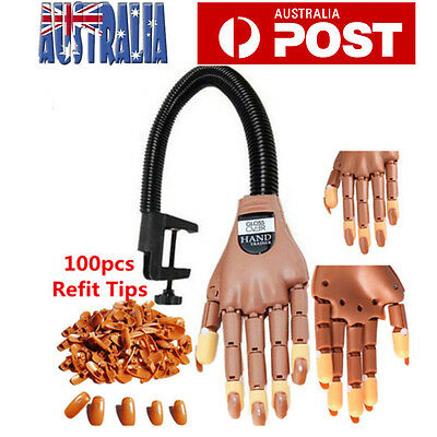 Brand New Nail Trainer Flexible Practice Training Model Hand with 100 Refit Tips