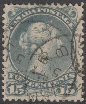 Canada 1875 Queen Victoria (large) 15c grey perf 12, used
