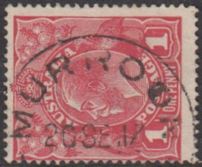 Victoria MURROON / VIC 1917 postmark on KGV 2d red