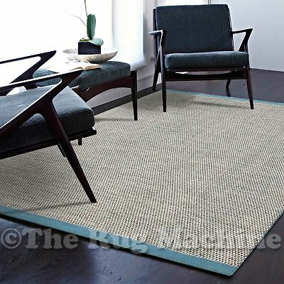 MALMO BEIGE BLUE HANDKNOTTED NATURAL WOOL MODERN FLOOR RUG 155x225cm **NEW**
