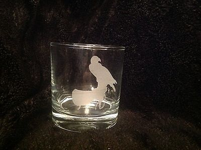 Bird Of Prey On Glove Etched Whiskey Glass Gift Present Eagle Raptor Hawk Falcon