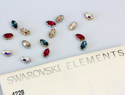 Genuine SWAROVSKI 4228 XILION Navette Crystals with Sew On Metal Settings