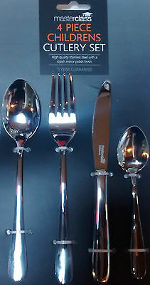 3 sets MASTERCLASS Kitchen Craft Children's CUTLERY CHILD Cutlery 4 pc EASY GRIP