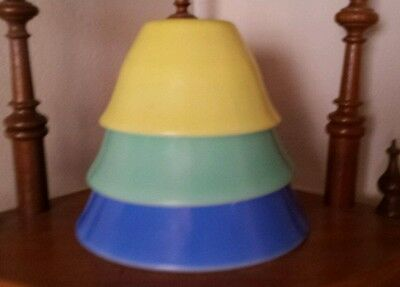 Vintage. Set Of 3 Mckee. Nesting Mixing Bowls Yellow, Blue, Green