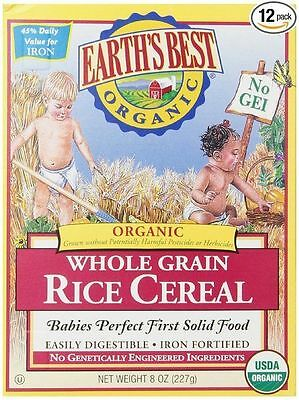 Earth's Best Organic, Whole Grain Rice Cereal, 8 Ounce (Pack of 6)