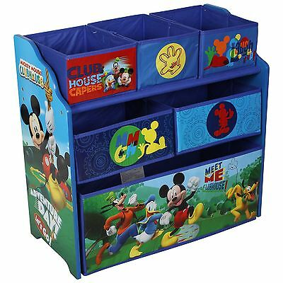 Disney Mickey Mouse Wooden Multi-bin Kids Toy Storage Organiser Childrens Tidy