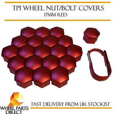 TPI Red Wheel Bolt Covers 17mm Nut Caps for Fiat 500 Abarth 08-16