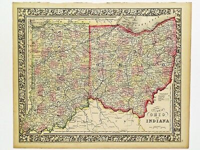Authentic 1864 New Generation Atlas map of Ohio and Indiana.