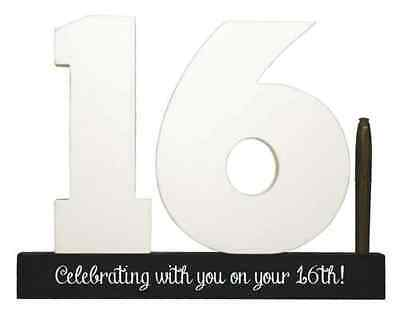 NEW Splosh Wooden Signature Number 16th Birthday Plaque You Sign With Pen SGN16