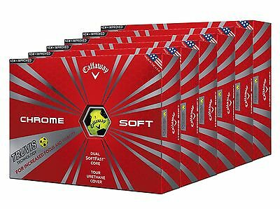 Callaway Chrome Soft Truvis Yellow/black 6 Dozen / 72 Golf Balls New 2016