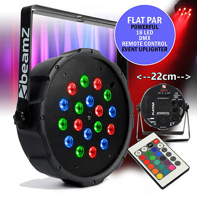 Beamz Flat Slim PAR 18 LED RGB DMX UPLIGHTER Remote Light Mobile DJ Bar Lighting