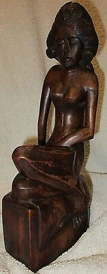 Vintage Hand Carved Hard Wood Wooden Asian Balinese Girl Woman Statue