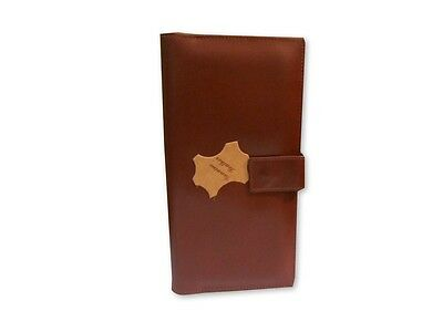 Genuine Leather Travel Wallet Purse Passport & Card Holder Document Organizer