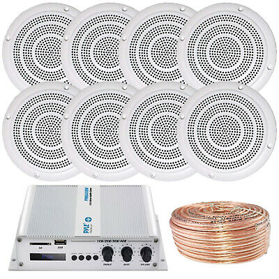 "Pyle Bluetooth 400W Amplifier, 3"" RV In-Ceiling Wall Speakers, Speaker Wiring"