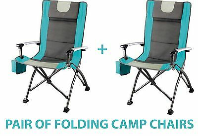 Ozark Trail High Back Folding Quad Chairs Barbecue Tailgating Camping Outdoor x2