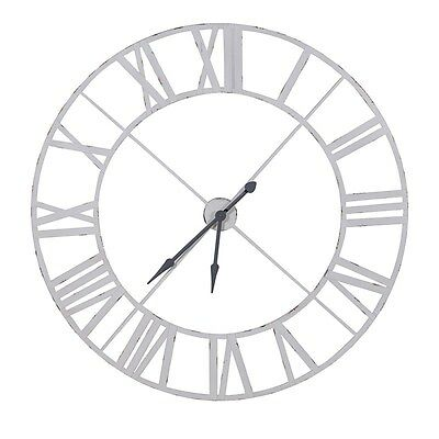 Extra Large Distressed White And Grey Wooden Wall Clock