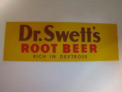 Vintage Dr. Swett's Root Beer Soda Bottle Label