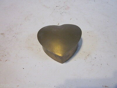 Vintage Solid Brass Small Heart Shaped Trinket Box