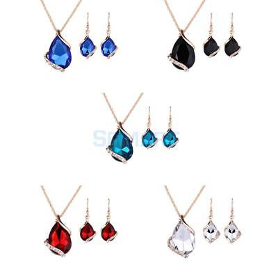 Women Ladies Diamante Teardrop Rhinestone Crystal Necklace Earrings Jewelry Set