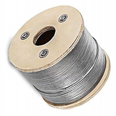 "Cable Railing Type 316 Stainless Steel Wire Rope Cable, 1/8"",7x7, 1000 ft Reel"