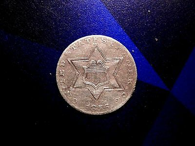 RARE 1856 3c THREE CENT SILVER PIECE XF BUY IT NOW OR MAKE OFFER