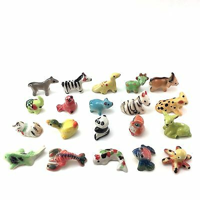 LOT OF 20 TINY MINIATURE ANIMAL CERAMIC MIX MINIATURE COLLECTIBLE FIGURINES a3