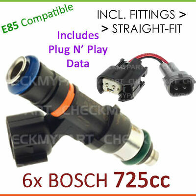 6x New * BOSCH * 725cc E85 Fuel Injector Set-up For Nissan Skyline R34 2.5L Neo