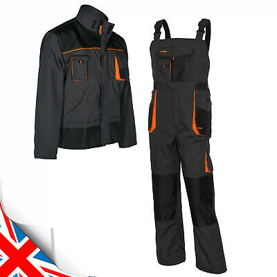 New Bib and Brace Overalls Men Work Trousers Dungarees Multi Knee Pad Pocket.