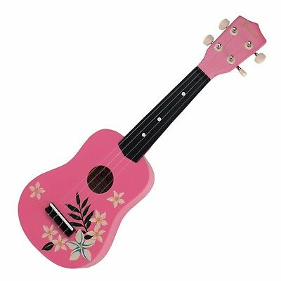 New Sanchez Hawaiian Pink Floral Soprano Uke Ukulele for Beginner