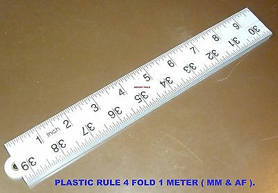 Ruler Folding 4 Fold Plastic,1 M Long, Carpenters Ruler - Mm & Inch, Brand New .