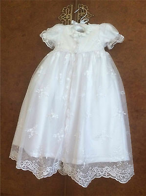 New Traditional White Christening Gown Victorian Style 3/6/9/12 Month + Free Box