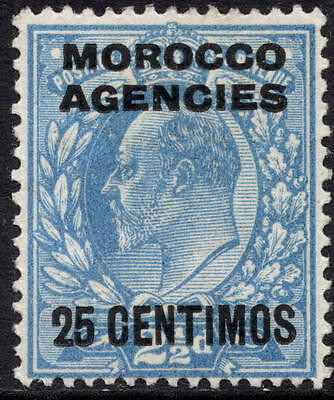 1912 Overprint Morocco Agencies Spanish Currency SG124a 25c on 2½d Dull Blue MM