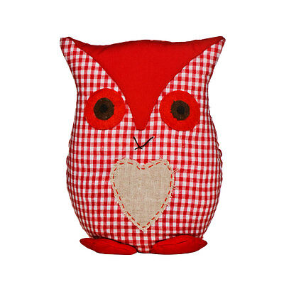 Red Gingham Check Fabric Cute Owl Door Stopper Childrens Living Room Weighted