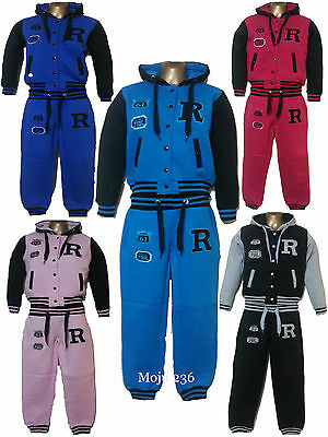New Kids Girls Boys Baseball Tracksuit Hooded Jacket Bottom Set Size 7-13Years