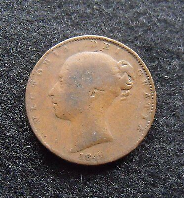 1849 UK farthing Queen Victortia Copper Farthing